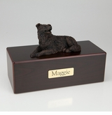 Bronze Border Collie Dog Figurine -Simply Walnut- Pet Cremation Urn - 411