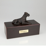 Bronze Boxer Dog Figurine -Simply Walnut- Pet Cremation Urn - 414