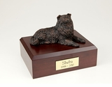 Bronze Collie Dog Figurine Pet Cremation Urn - 423