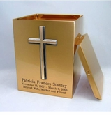 Bronze Cross Sheet Bronze Snap-Top Cremation Urn