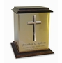 Bronze Cross Sheet Bronze With Walnut Trim Snap-Top Cremation Urn