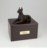 Bronze Doberman Dog Figurine -Simply Walnut- Pet Cremation Urn - 428