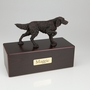 Bronze English Setter Dog Figurine -Simply Walnut- Pet Cremation Urn - 429