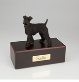 Bronze Fox Terrier Dog Figurine -Simply Walnut- Pet Cremation Urn - 465