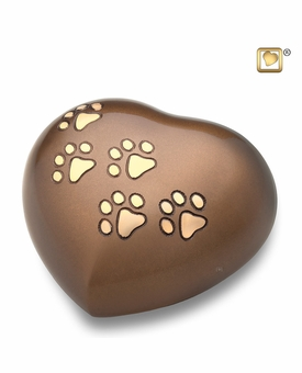 Bronze Heart Paw Print Medium Pet Cremation Urn