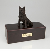 Bronze Husky Dog Figurine -Simply Walnut- Pet Cremation Urn - 436