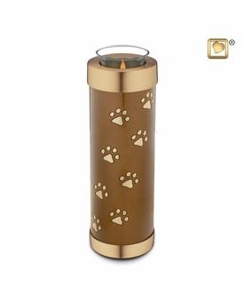 Bronze Paw Prints Tall Tealight Candle Pet Cremation Urn