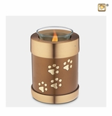 Bronze Paw Prints Tealight Candle Pet Cremation Urn