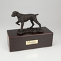 Bronze Pointer Dog Figurine -Simply Walnut- Pet Cremation Urn - 447