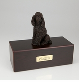 Bronze Poodle Dog Figurine -Simply Walnut- Pet Cremation Urn - 450