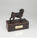 Bronze Pug Dog Figurine -Simply Walnut- Pet Cremation Urn - 451