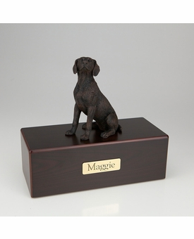 Bronze Weimaraner Dog Figurine -Simply Walnut- Pet Cremation Urn - 462