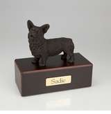 Bronze Welsh Corgi Dog Figurine -Simply Walnut- Pet Cremation Urn - 463