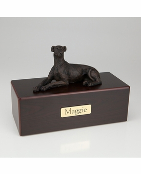 Bronze Whippet Greyhound Dog Figurine -Simply Walnut- Pet Cremation Urn - 435
