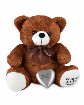 Brown Huggable Heart Teddy Bear Cremation Urn