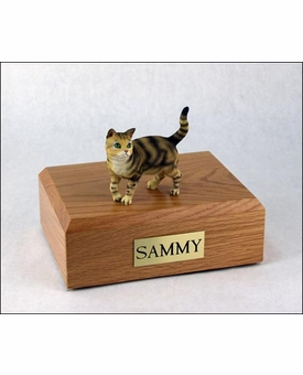 Brown Short Hair Tabby Cat Figurine Pet Cremation Urn - 638