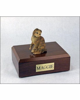 Brown Tabby Scottish Fold Cat Figurine Pet Cremation Urn - 617