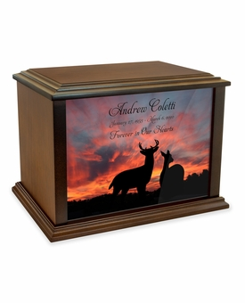 Buck and Doe at Sunset Eternal Reflections Wood Cremation Urn - 4 Sizes