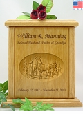 Buck & Doe Relief Carved Engraved Wood Cremation Urn