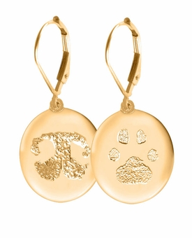 Buddies 3D Pet Paw Print / Nose Print 14k Gold Memorial Standard Earrings