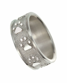 Buddies 3D Pet Paw Print / Nose Print Sterling Silver Memorial Remembrance Ring