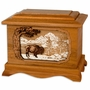 Buffalo 3D Inlay Mahogany Wood Cremation Urn