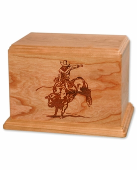 Bull Rider Cherry Wood Newport Laser Carved Cremation Urn
