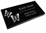Butterflies Grave Marker Black Granite Laser-Engraved Memorial Headstone
