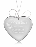 Butterflies Heart Crystal Memorial Ornament