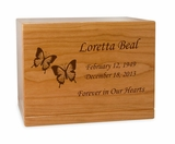 Butterflies Manchester Solid Cherry Wood Cremation Urn