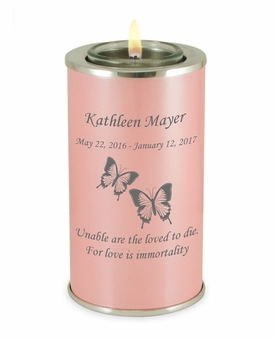 Butterflies Pearl Pink Tealight Memory Keepsake Candle Infant or Child Cremation Urn