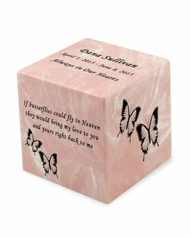 Butterflies Pink Small Cube Infant Cremation Urn - Engravable