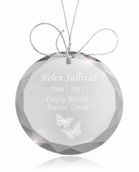 Butterflies Round Crystal Memorial Ornament