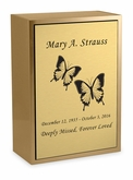 Butterflies Sheet Bronze Inset Snap-Top Niche Cremation Urn with Engraved Plate