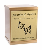 Butterflies Sheet Bronze Overlap Top Cremation Urn with Engraved Plate