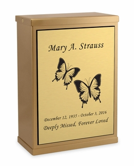 Butterflies Sheet Bronze Overlap Top Niche Cremation Urn with Engraved Plate