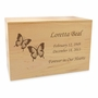 Butterflies Solid Maple Wood Cremation Urn