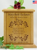 Butterfly And Vines With Poem Engraved Wood Cremation Urn