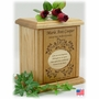 Butterfly And Vines With Recessed Poem Engraved Wood Cremation Urn