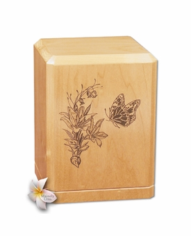Butterfly Classic Maple Wood Cremation Urn