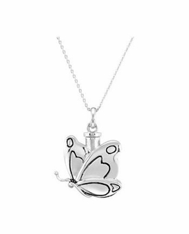 Butterfly In Motion Sterling Silver Cremation Jewelry Necklace