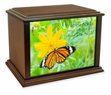 Butterfly on Flower Eternal Reflections Wood Cremation Urn - 3 Sizes