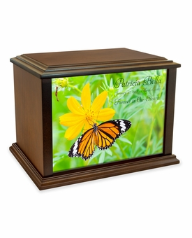 Butterfly on Flower Eternal Reflections Wood Cremation Urn - 4 Sizes