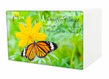 Butterfly on Flower Eternal Reflections II Wood Cremation Urn - 5 Urn Choices