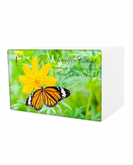 Butterfly on Flower Eternal Reflections Wood Cremation Urn - 5 Urn Choices
