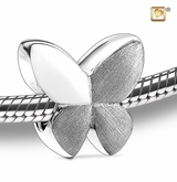 Butterfly Rhodium Plated Sterling Silver Cremation Jewelry Bead