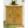 Butterfly To Heaven Cross Engraved Wood Cremation Urn
