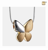 Butterfly with Crystal Two Tone Gold Vermeil Cremation Jewelry Pendant Necklace