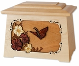 Butterfly with Flowers with 3D Inlay Maple Wood Astoria Cremation Urn
