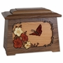 Butterfly with Flowers with 3D Inlay Walnut Wood Astoria Cremation Urn